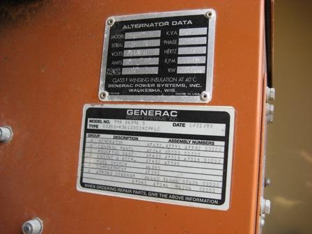 Data Plate Generac