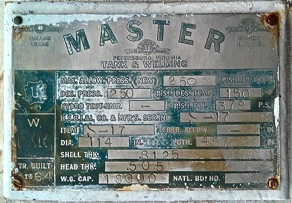 18,000 Gallon Used Propane Bullet Tanks Data