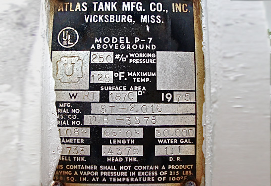 30,000 Gallon Used Propane Bullet Tank Data