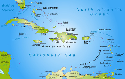 Carribean Islands Map - SNG Propane Air to LNG Switching