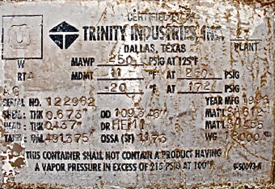 18,000 Trinity Storage Vessel Data Plate 1994