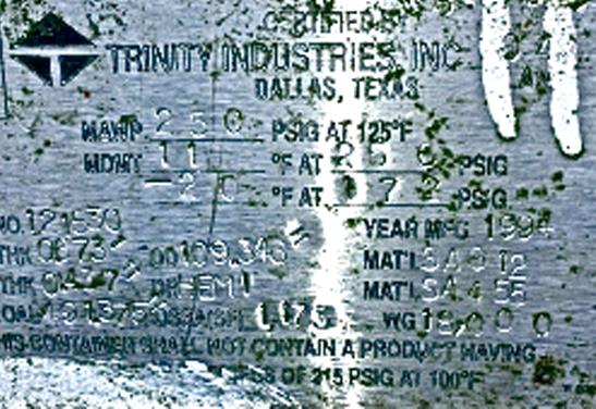18,000 1994 Trinity tank Data Plate