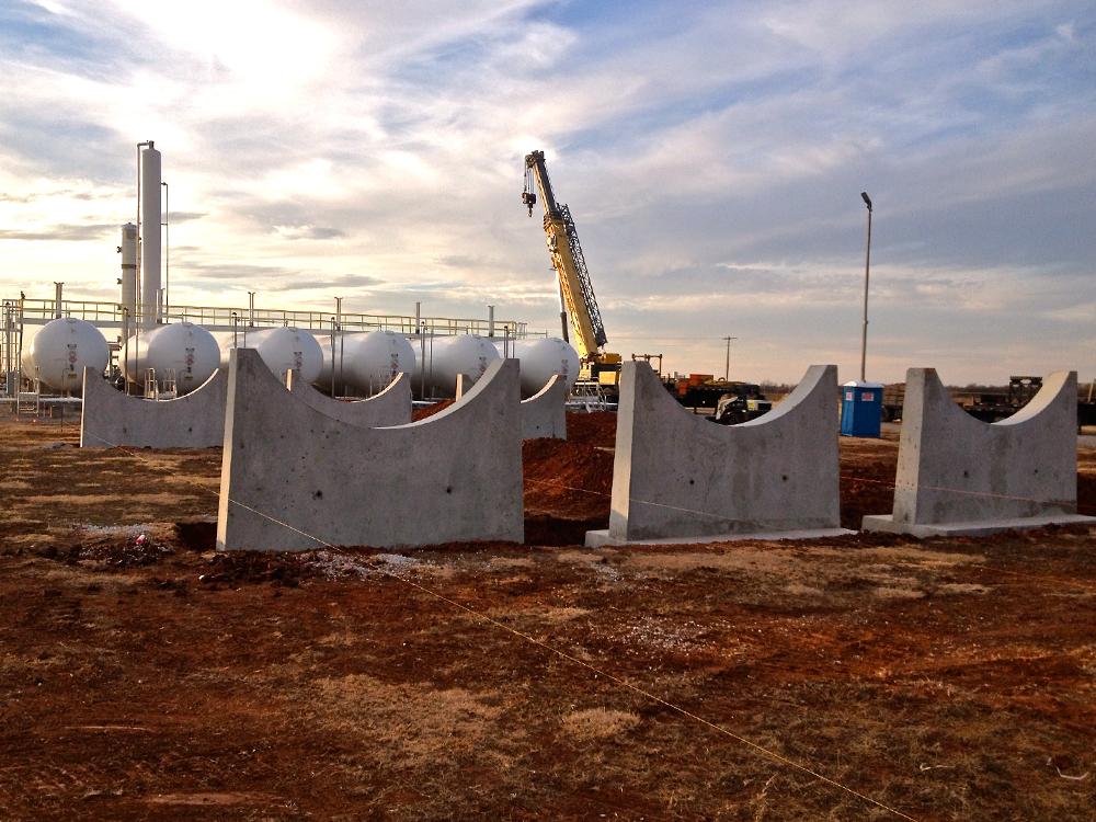 LPG storage tanks -  concrete tank piers - installation